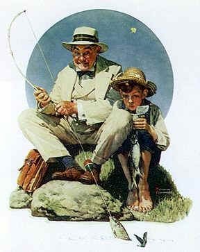 "Norman Rockwell posters ""Catching The Big One (Boy & Grandad) """